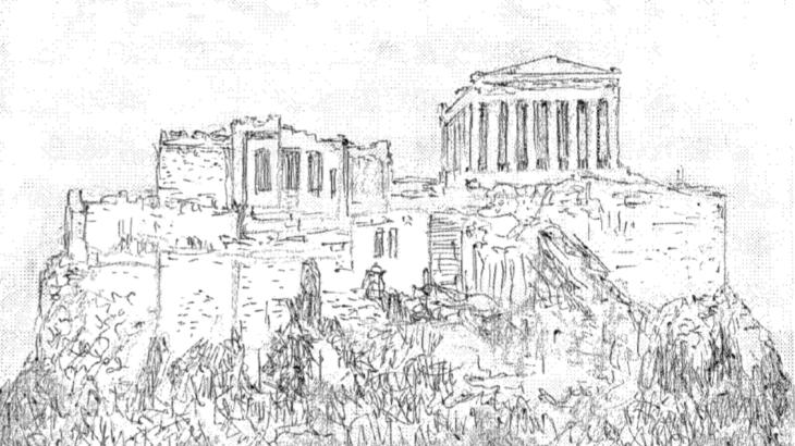【ラクガキ旅日記5】ソクラテスの散歩道〜ギリシャ・パルテノン神殿